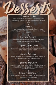 bar desserts restaurant food menu