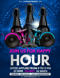bar flyer, happy hour, cocktail party