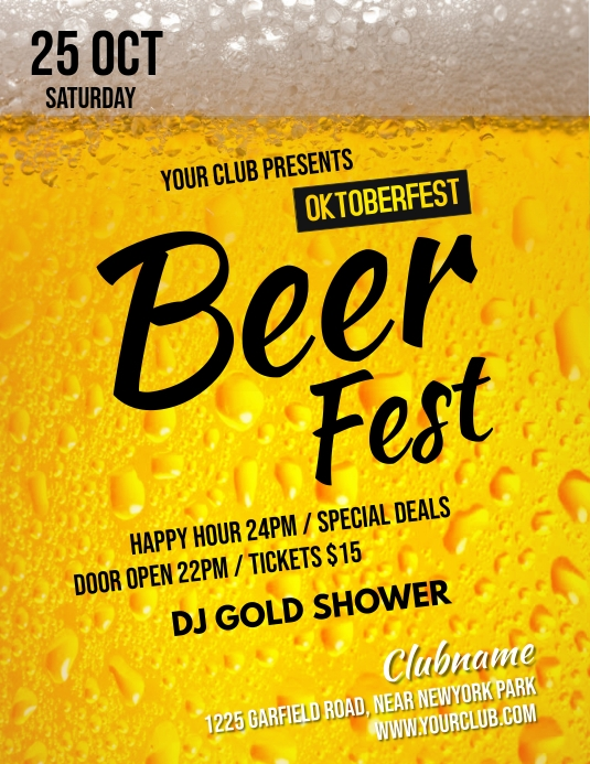 bar flyer, oktoberfest, happy hour