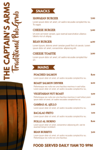 Bar Food Snacks Menu Template