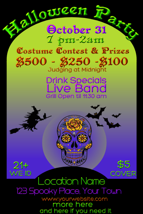 Bar Halloween Costume Contest Cartaz template