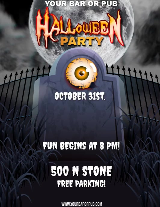BAR HALLOWEEN PARTY Flyer (format US Letter) template