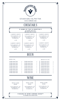 Bar menu design template Oficio US