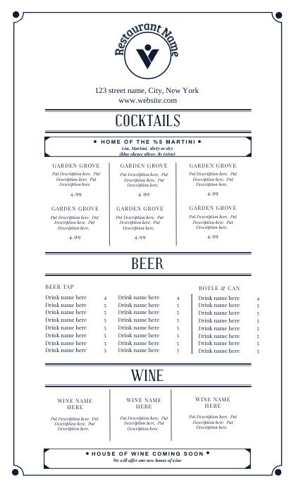 Bar menu design template Oficio US