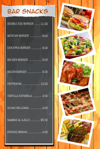 Bar Snacks Restaurant Flyer Poster Menu Template