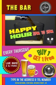 BAR MENU - HAPPY HOUR FLYER Banner 4 x 6 fod template
