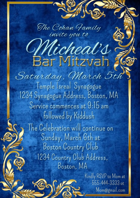 Bar Mitzvah Invitation Blue Gold Frame A6 template