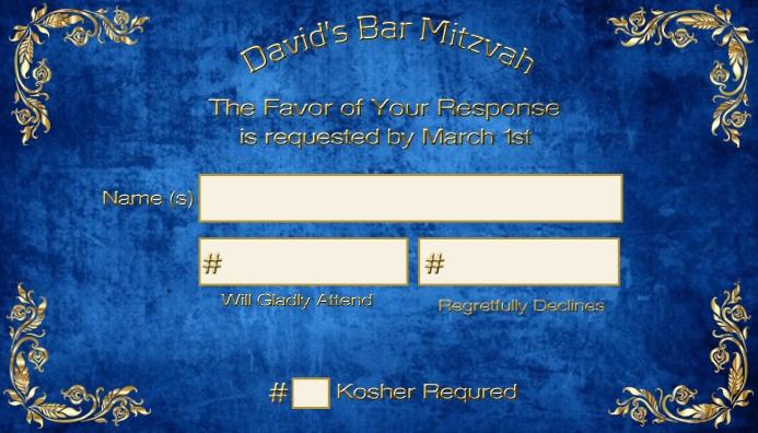 Bar Mitzvah RSVP Gold Frame RSVP Cartão de visita template