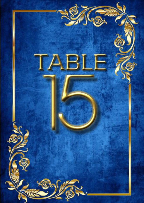 Bar Mitzvah Table Number Gold Postcard Size A6 template