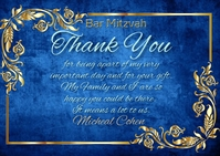 Bar Mitzvah Thank You Blue Gold Frame Postal template