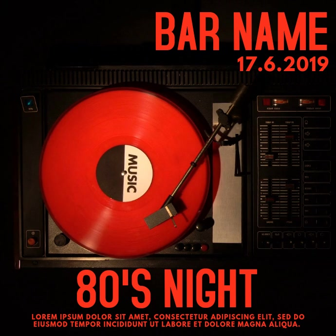 Bar Music Night Event Video Template โพสต์บน Instagram