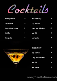 Bar price list cocktails siple A4 template