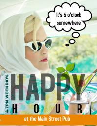 Bar Pub or Restaurant Happy Hour Flyer Ad