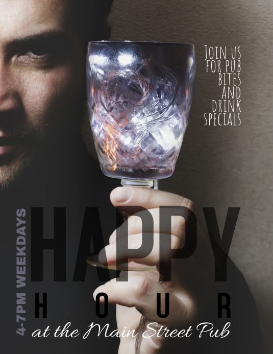 Bar Pub or Restaurant Happy Hour Flyer Ad