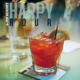 Bar Pub or Restaurant Happy Hour Instagram template