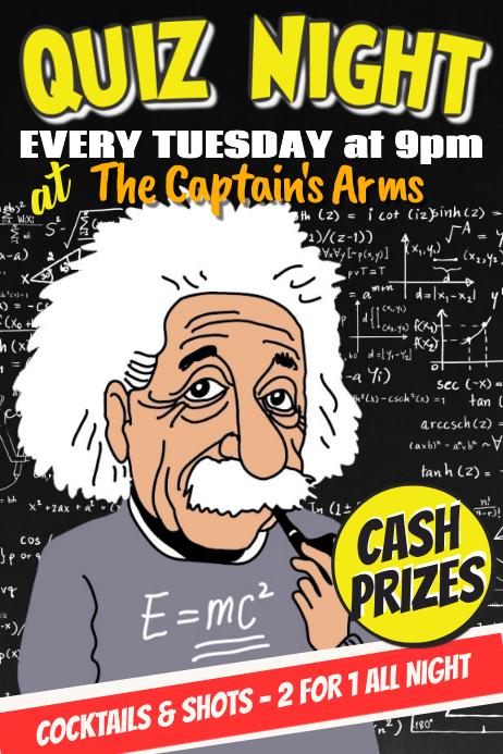 Bar Pub Quiz Trivia Night Poster Template 海报