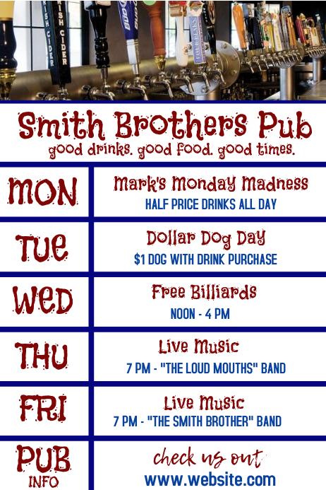 Bar Pub Restaurant Daily Specials