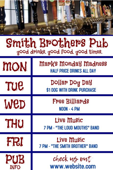 Bar Pub Restaurant Daily Specials Cartaz template