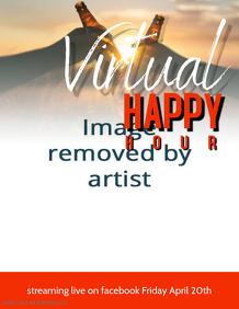 Bar pub Restaurant virtual happy hour flyer