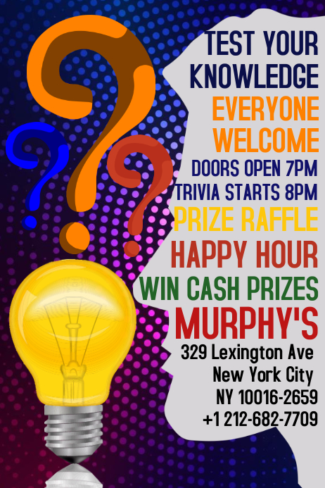 Bar Pub Trivia Night Quiz Poster Template PosterMyWall