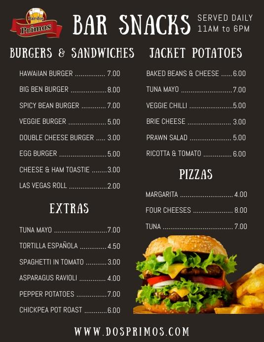 bar snack menu flyer template postermywall