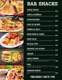 Bar Snacks Menu Flyer Template