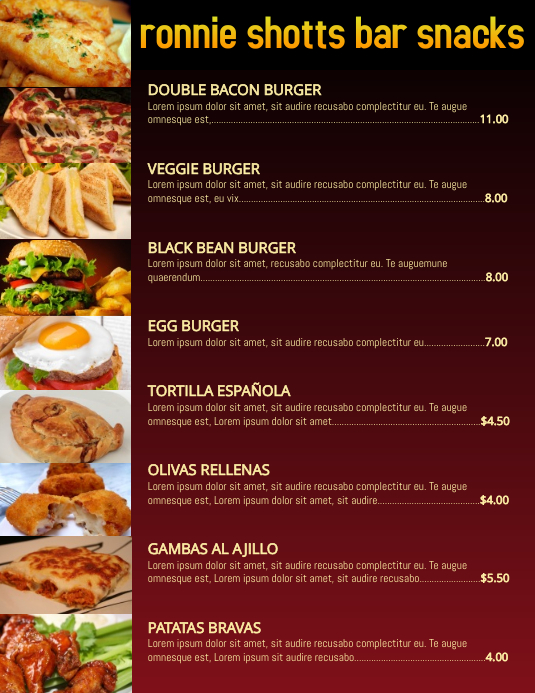 bar snacks food menu poster customization flyer restaurant template postermywall. Black Bedroom Furniture Sets. Home Design Ideas