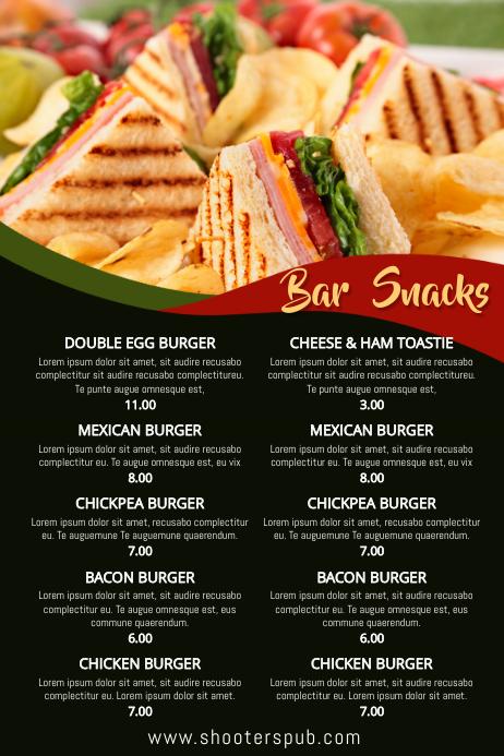 Bar Snacks Menu Template Postermywall