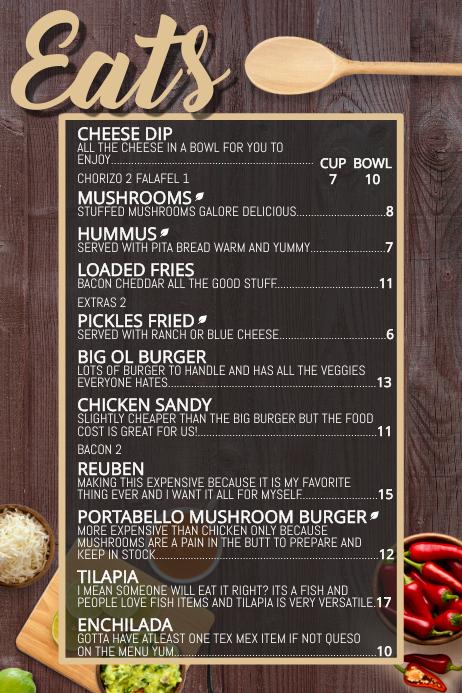 bar snacks restaurant food menu