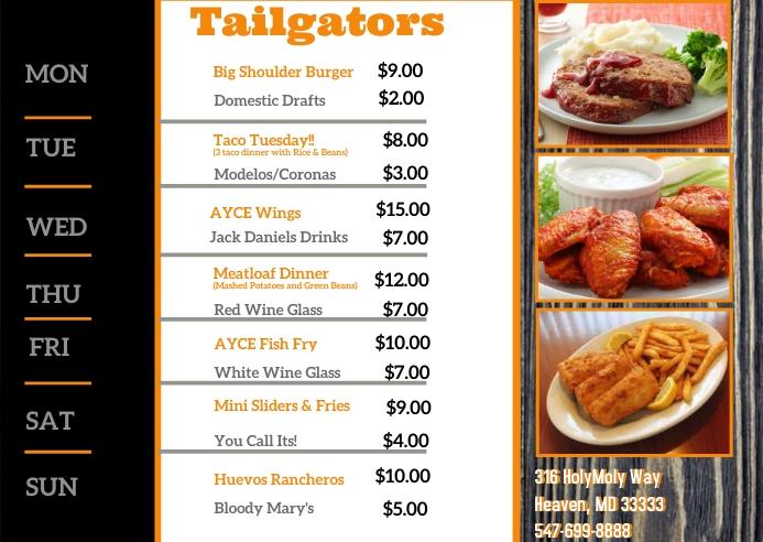 Bar Specials Postcard Briefkaart template