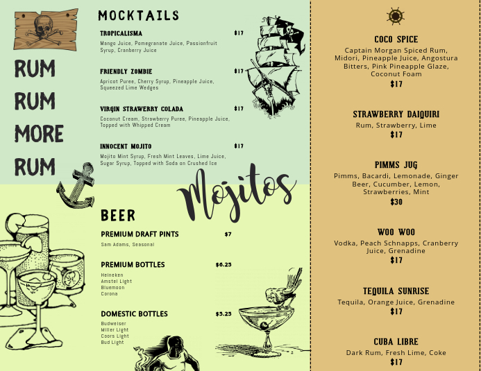 Bar Themed Cocktail Menu Template