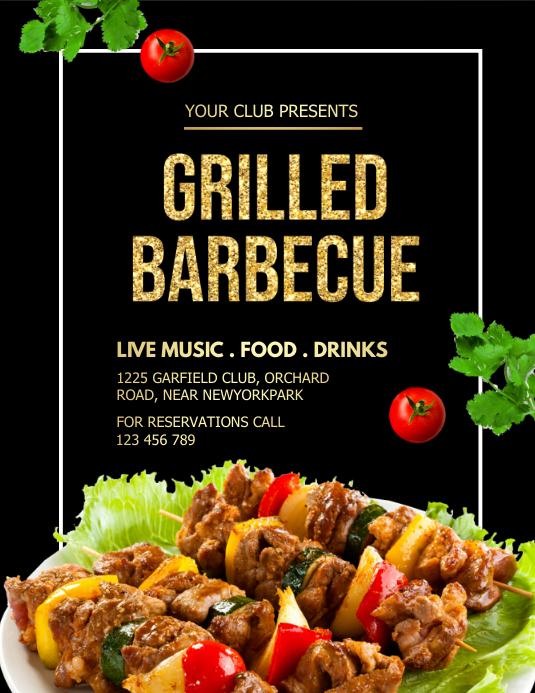 Barbecue, bbq flyer 传单(美国信函) template