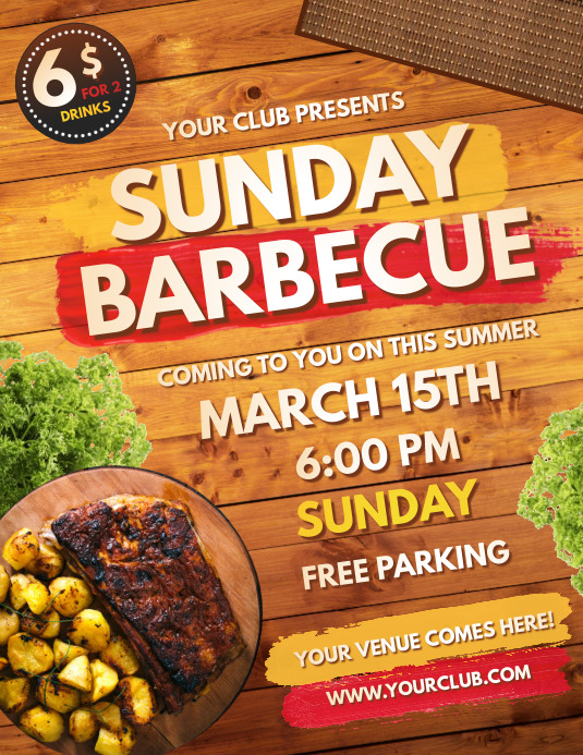Barbecue, father's day barbecue, Flyer (Letter pang-US) template