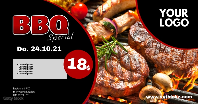 Barbecue BBQ Event Party Bar Banner Header Ad Facebook Gedeelde Prent template