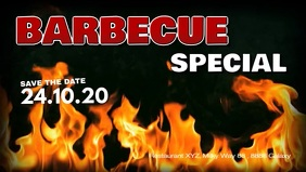 Barbecue BBQ Event Party Bar Banner Header ad Facebook Cover Video (16:9) template