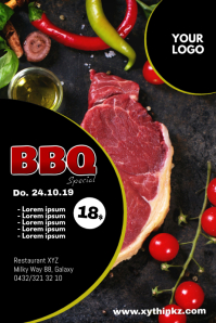Barbecue BBQ Event Party Bar meat Header Ad Plakkaat template