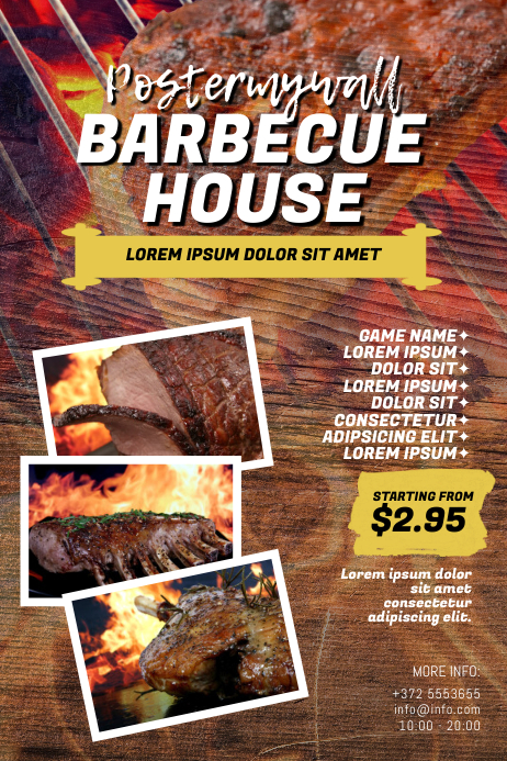 Barbecue BBQ House Flyer Template Cartaz
