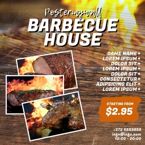 Barbecue BBQ House Video Design Template Square (1:1)