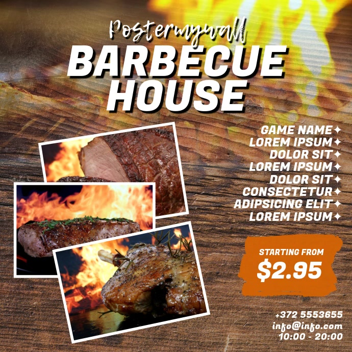 Barbecue BBQ House Video Design Template Persegi (1:1)