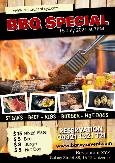 Barbecue BBQ Special Event Party Restaurant A5 template