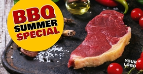 Barbecue BBQ Summer Special Banner Header Ad Imagen Compartida en Facebook template