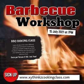 Barbecue BBQ Workshop Cooking Class Event Ad Vierkant (1:1) template