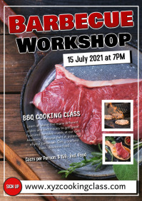 Barbecue BBQ Workshop Cooking Class Event Ad A5 template