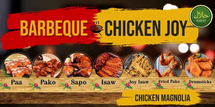 Barbecue Rul-op banner 3' × 6' template