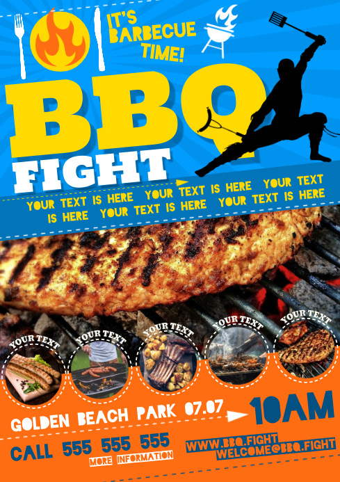 BARBECUE FIGHT POSTER A4 template