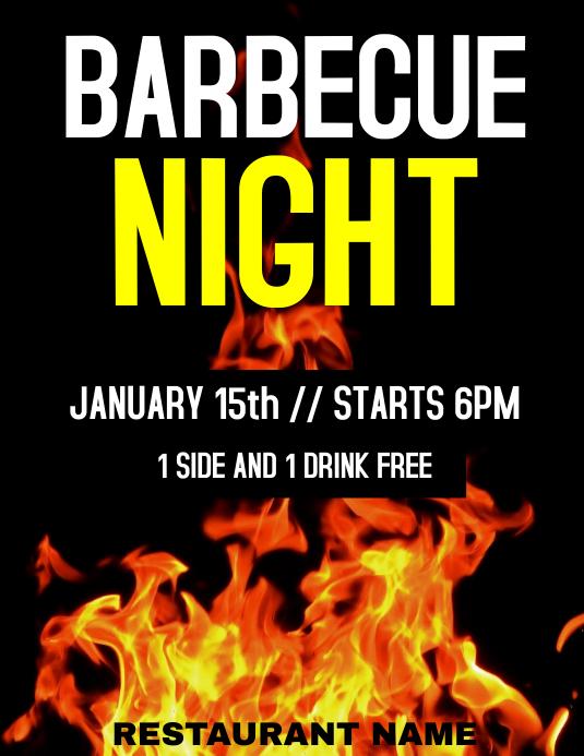 Barbecue flames night Pamflet (VSA Brief) template