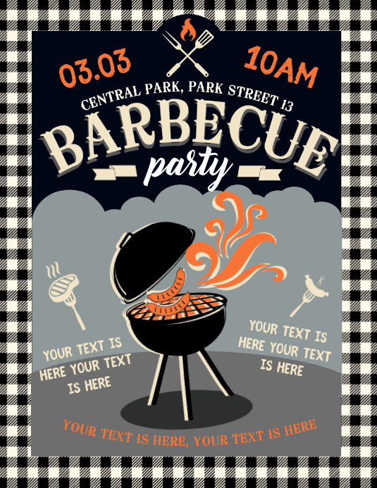 BARBECUE FLYER Folheto (US Letter) template