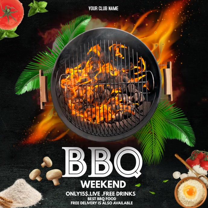 Barbecue flyers,menu flyers,food menu Persegi (1:1) template