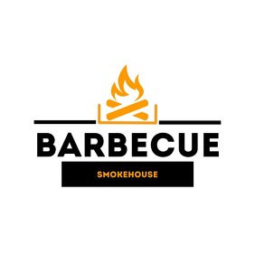 Barbecue logo black and orange 徽标 template