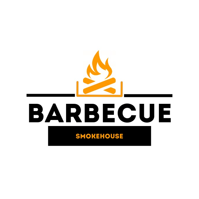 Barbecue logo black and orange Logótipo template